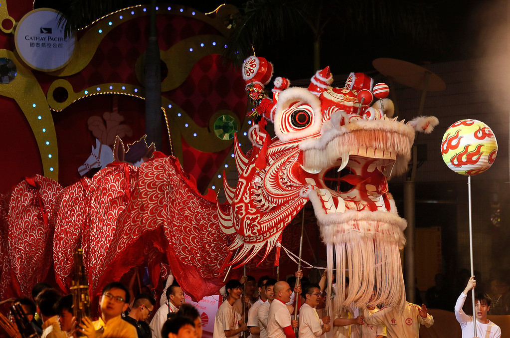. Performers take part in a night parade to celebrate Chinese New Year in Hong Kong, Friday, Jan. 31, 2014.  (AP Photo/Vincent Yu)