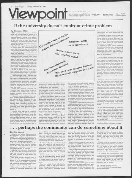 Daily Trojan, Vol. 91, No. 38, October 26, 1981