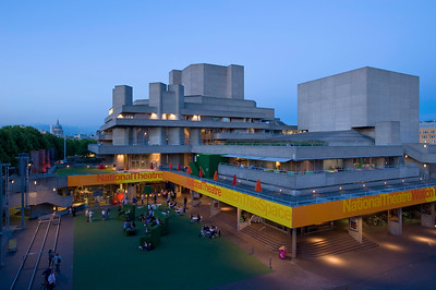 National Theatre at dusk, Southbank, London, United Kingdom