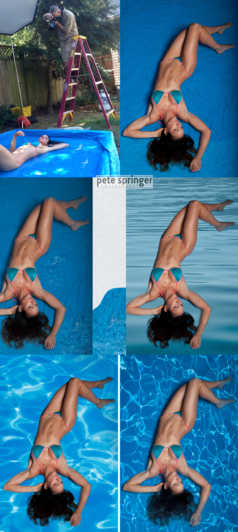 behind the scenes with swimwear model in a shallow pool