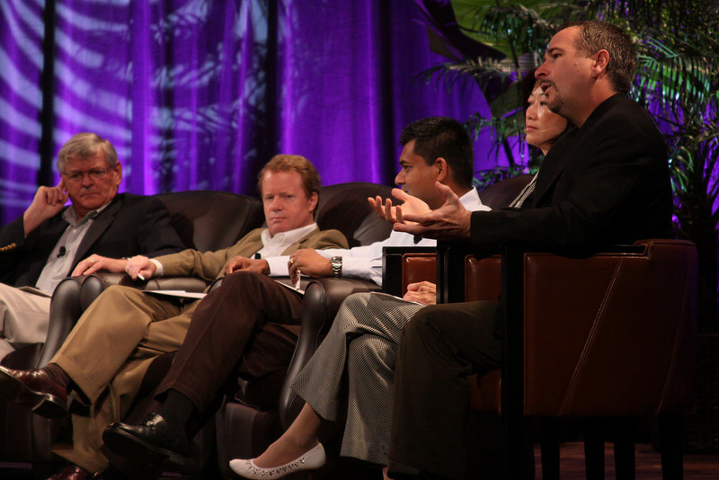 """""""HOTSPOTS II: Five Personal Views of the Future"""": (L-R) David Morris, President and CEO, EcoVerdance; Jim Butler, GM, Communications Sector, Greater China, Microsoft; and Balan Nair, SVP and CTO, Liberty Global; Connie Wong, CEO, Vidiator; and Joe Burton, VP and CTO, Cisco Systems"""