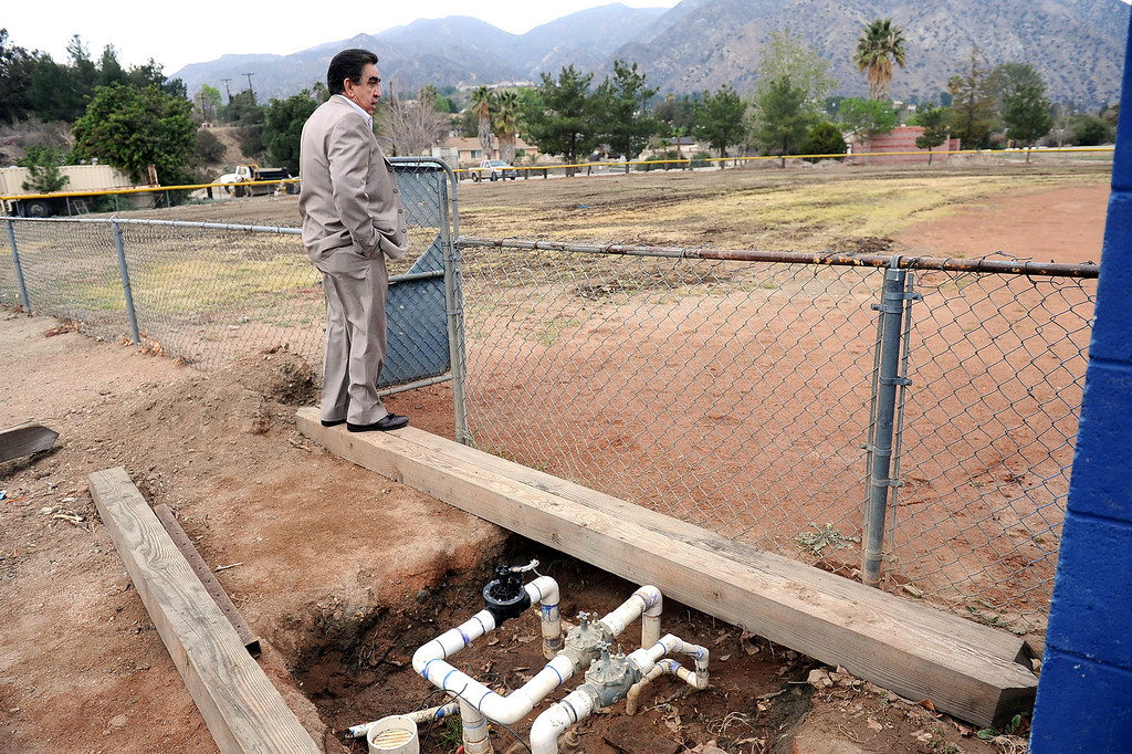 . Joe Kirk looks out over a run-down baseball diamond at the Sylmar Independent Baseball League in Sylmar, CA February 6, 2014.  Kirk is part of a group of San Fernando Valley homeowners who are suing the operators of the Sylmar Independent Baseball League, alleging that the non profit group mismanaged the league for years.(Andy Holzman/Los Angeles Daily News)