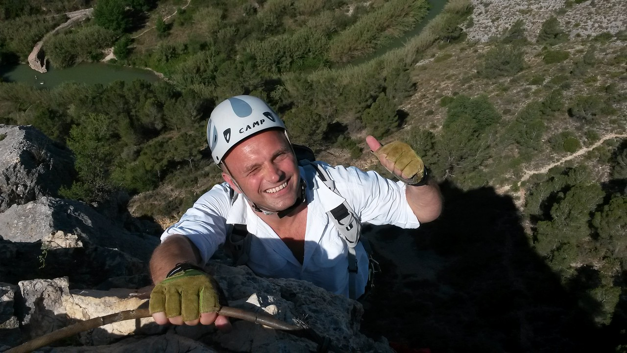 Taz completing the L'Aventador Via Ferrata