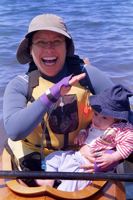 This is Andy on his first ever kayak ride - I'm terrified, even though his mom his holding my boat, and the water is only an inch or so deep.  Support Strokes was started in memory of Andy's dad's wife, Lore Hogan, who succumbed to breast cancer in her 30's.  John remarried, and Andy is his first child.  It was an honor paddling in Lore's name.