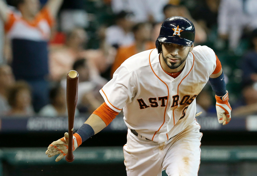 . Houston Astros\' Marwin Gonzalez tosses his bat after flying out to end the game against the Detroit Tigers in a baseball game Saturday, June 28, 2014, in Houston. The Tigers won 4-3. (AP Photo/Pat Sullivan)