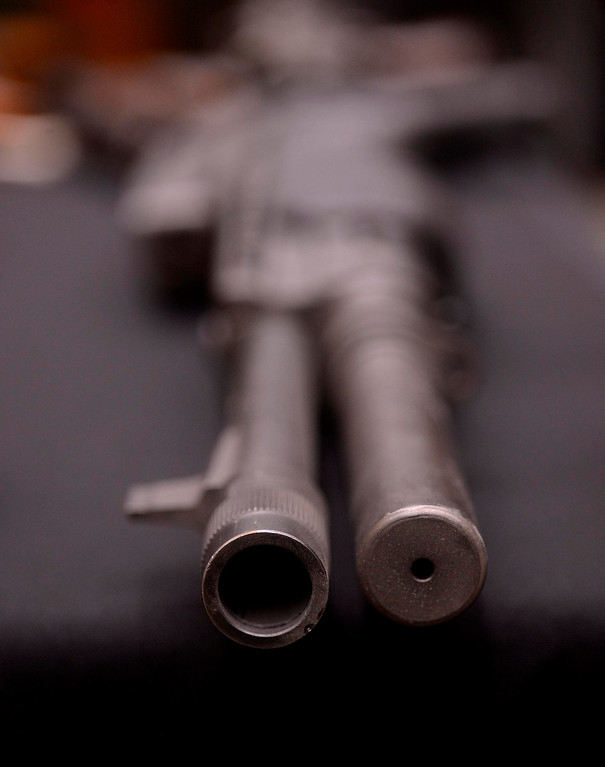 . A view of a confiscated rifle as seen at the San Bernardino County Sheriff\'s Department in San Bernadrino May 31, 2013.  Sheriff John McMahon announced today the first Countywide Gun Buy Back Program.   GABRIEL LUIS ACOSTA/STAFF PHOTOGRAPHER.