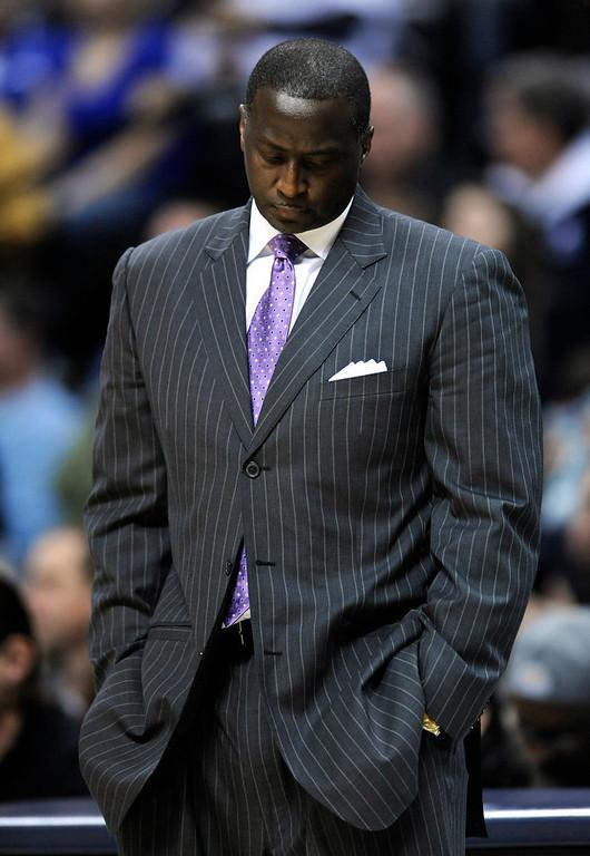 . Utah Jazz head coach Tyrone Corbin  reacts during an NBA basketball game against the Denver Nuggets, Saturday, Jan. 5, 2013, in Denver. Denver defeated Utah 110-91.  (AP Photo/Jack Dempsey)