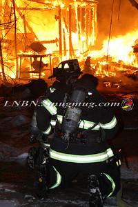 Copiague F.D. Working Detached Garage Fire 995 Hawkins Blvd 1-26-14