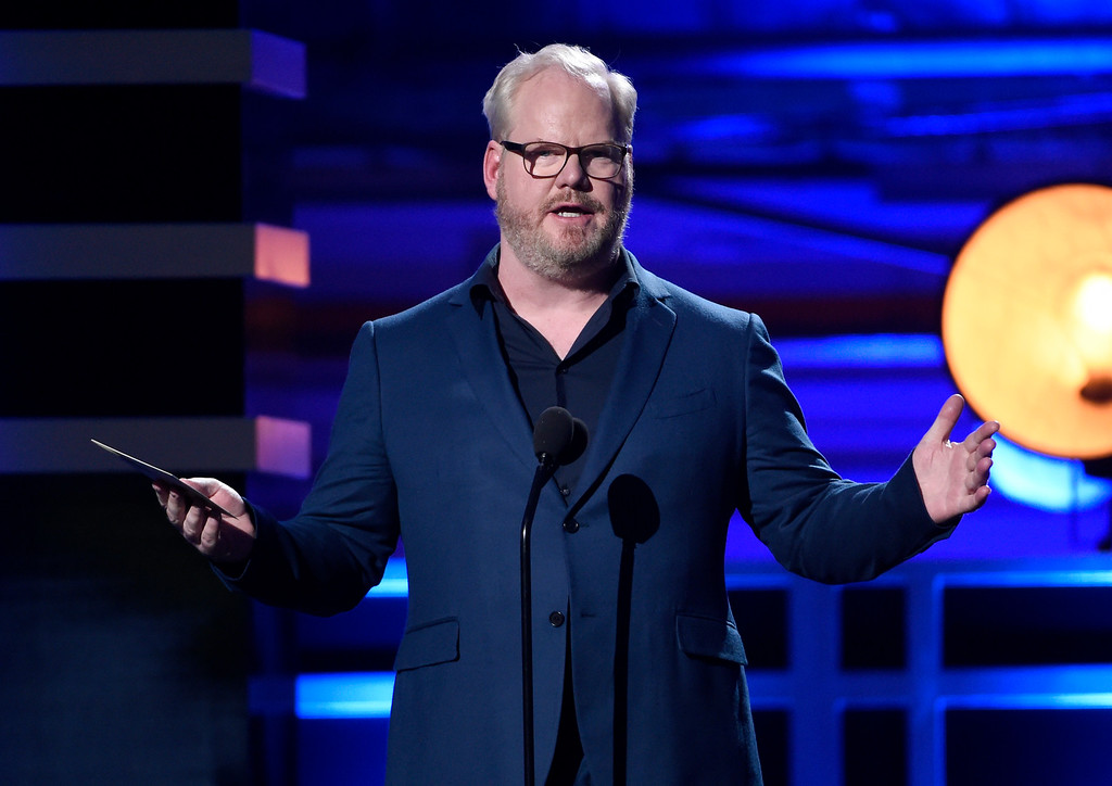 . Jim Gaffigan presents the award for best comedy series at the 23rd annual Critics\' Choice Awards at the Barker Hangar on Thursday, Jan. 11, 2018, in Santa Monica, Calif. (Photo by Chris Pizzello/Invision/AP)