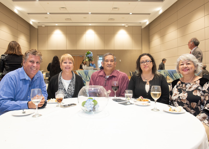 Kenneth Roberts (left), Jamie Roberts, Antonio Lozano, Veronica Vela, and Rose Vela during the Fall 2018 Distinguished Speaker Series VIP Reception.