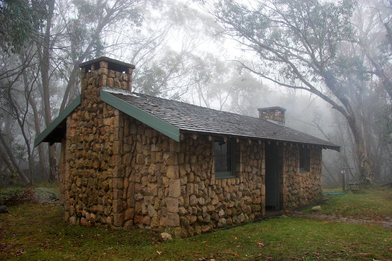 """The Stone Hut (constructed 1938). Seen during a break in the Good Friday rain. At this stage we were awaiting the snow predicted for later that day, all of Saturday and """"in the peaks"""" on Sunday."""