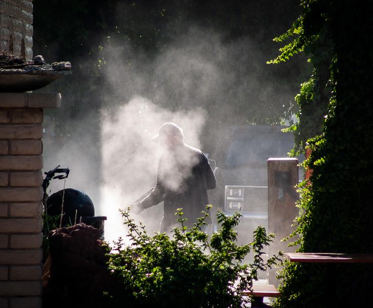 Pressure washing, Campbell, California, 2007