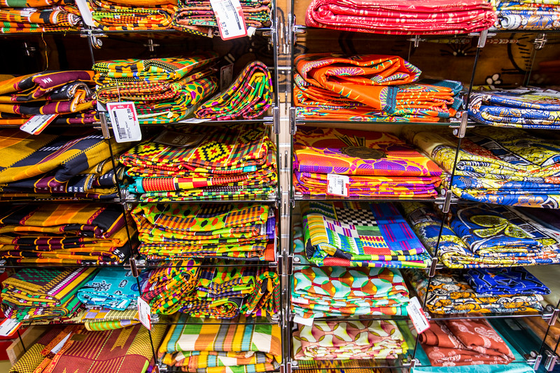 Traditional African fabrics and clothing are available at AfroCentric Network where fabrics from Ghana and Kenya are in great supply. The traditional fabrics available are all from Africa and have traditional patterns and a processed traditonally with wax.  (Jenni Girtman / Atlanta Event Photography)
