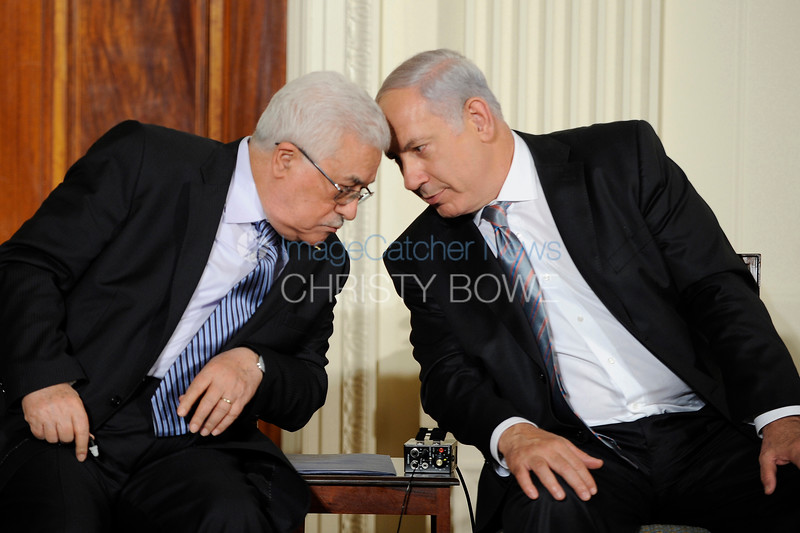 President Mahmoud Abbas of the Palestinian Authority and Prime Minister Benjamin Netanyahu of Israel share a moment before each gives a speech at The White House.