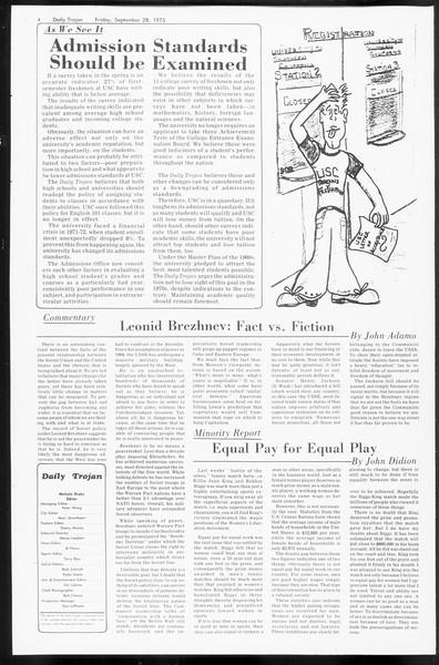 Daily Trojan, Vol. 66, No. 10, September 28, 1973