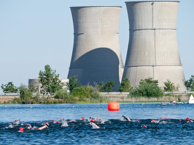 Swim to the nuke plant.