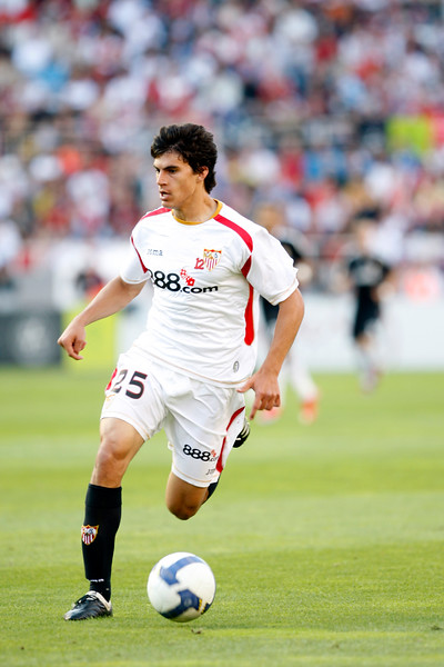 The young Argentinian forward Perotti (Sevilla).  Spanish Liga football game between Sevilla FC and Real Madrid CF that took place at Sanchez Pizjuan stadium, Seville, Spain, on 26 April 2009
