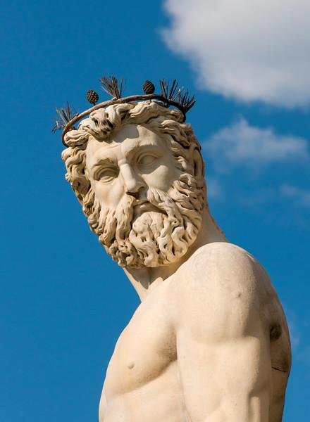 Close-up of Neptune Statue, Fountain of Neptune, Piazza della Signoria, Florence (Firenze), Tuscany (Toscana), Italy