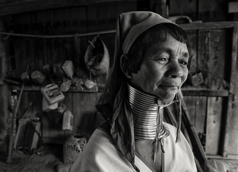 Portrait of a woman from the kayan tribe  Kayah State, Myanmar, 2017