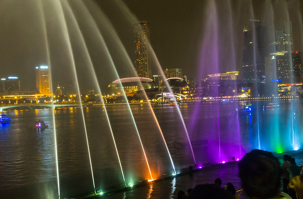 Singapore Water lights Marina Sands Hotel