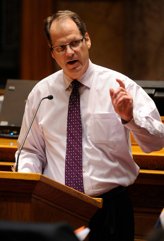 . DENVER, CO. - MARCH 8: Senator Bill Cadman (R-Colorado Springs) spoke out against House Bill 1224 shortly before the Senate gave approval to a magazine ammo limit following six hours of debate. The Colorado Senate continued to debate various gun control measures late Friday night, March 8, 2013. (Photo By Karl Gehring/The Denver Post)