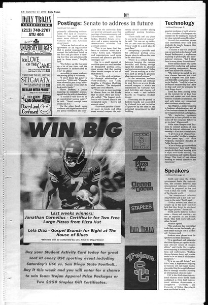 Daily Trojan, Vol. 138, No. 13, September 17, 1999