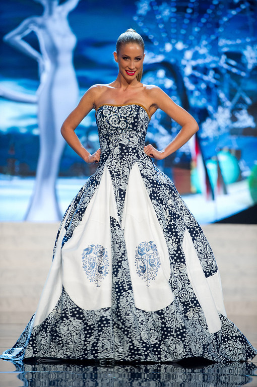 . Miss Slovak Republic 2012, Lubica Stepanova, performs onstage at the 2012 Miss Universe National Costume Show on Friday, Dec. 14, 2012 at PH Live in Las Vegas, Nevada. The 89 Miss Universe Contestants will compete for the Diamond Nexus Crown on Dec. 19, 2012. (AP Photo/Miss Universe Organization L.P., LLLP)