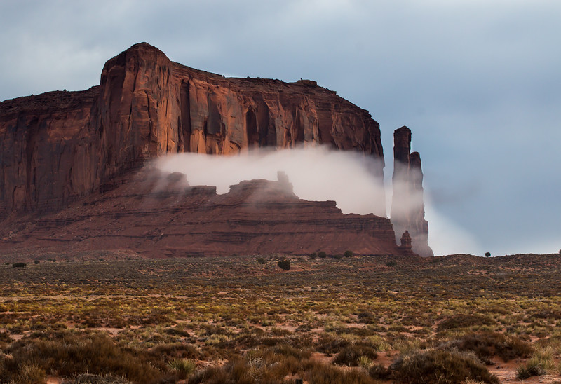 early morning fog in Monument Valley