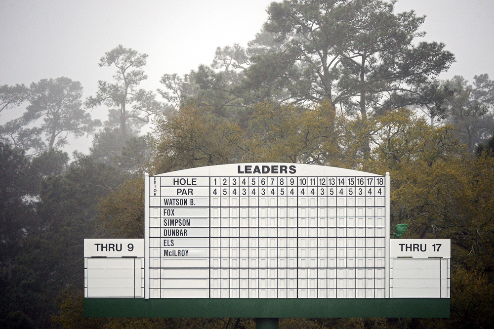 Description of . The leaderboard is seen prior to the start of the first round of the 2013 Masters Tournament at Augusta National Golf Club on April 11, 2013 in Augusta, Georgia.  (Photo by Harry How/Getty Images)
