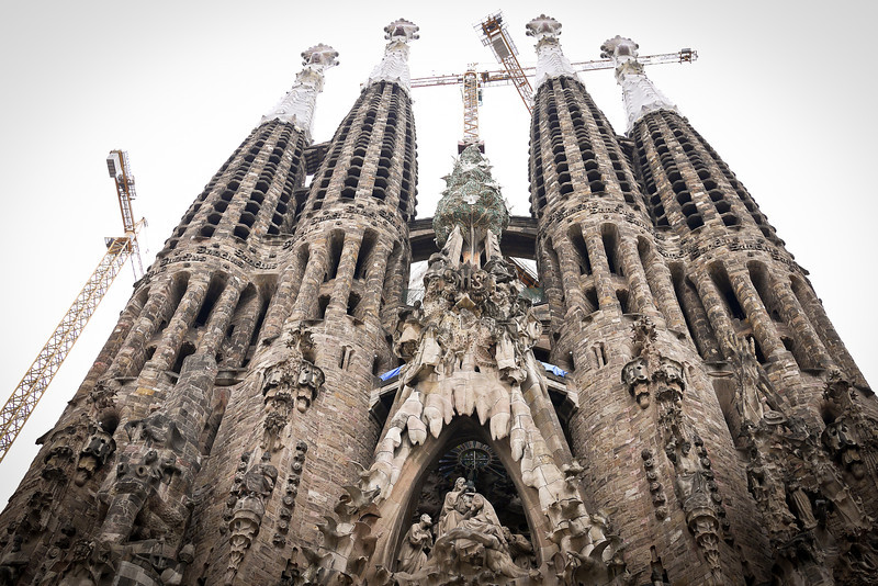 La Sagrada Familia in Barcelona, Spain on a rainy and overcast afternoon