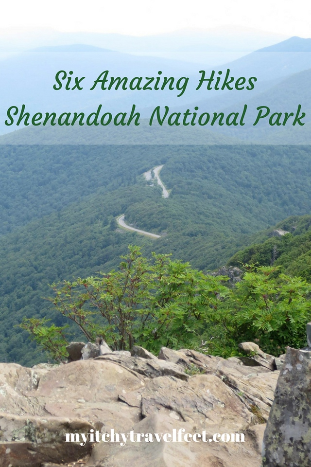 Text on Photo: Six Amazing Hikes, Shenandoah National Park. Photo: blue and green mountain ridges with a ribbon of asphalt running along the crest.