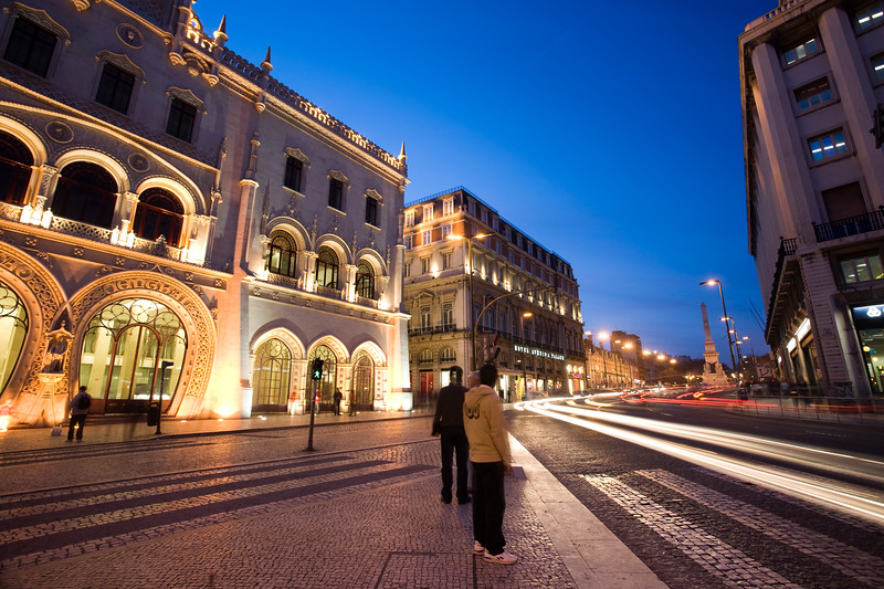 Night scene, Rossio station, Lisbon