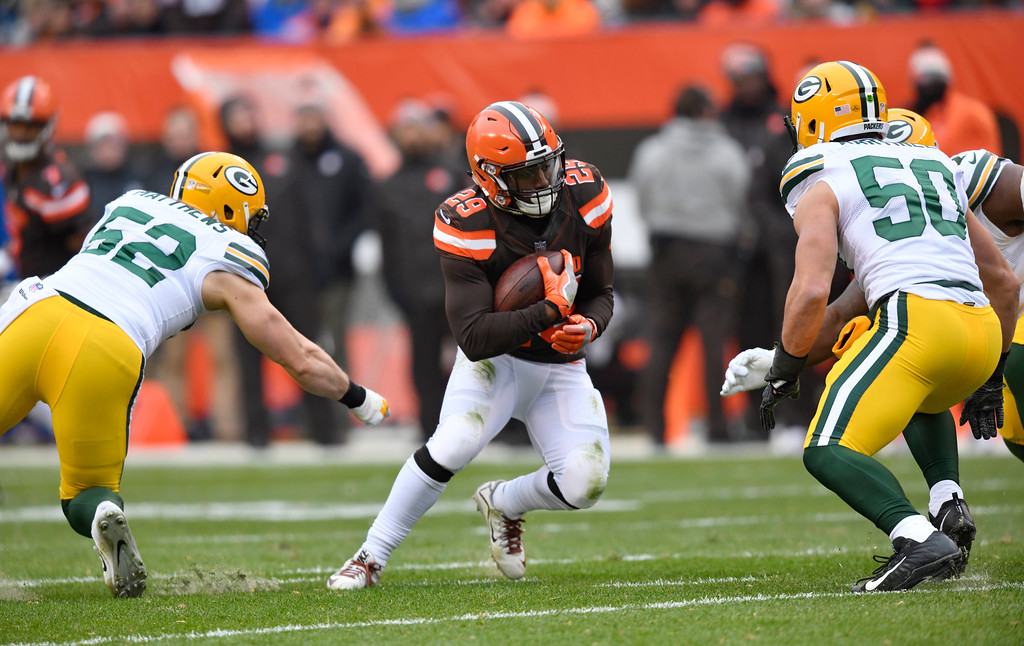 . Cleveland Browns running back Duke Johnson (29) rushes against the Green Bay Packers in the first half of an NFL football game, Sunday, Dec. 10, 2017, in Cleveland. (AP Photo/David Richard)