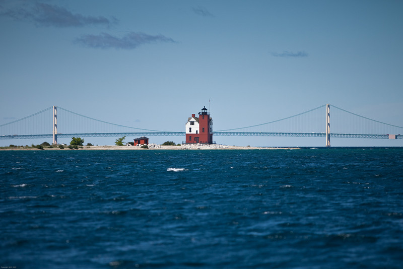 Mackinac Bridge and The Round Island Lighthouse