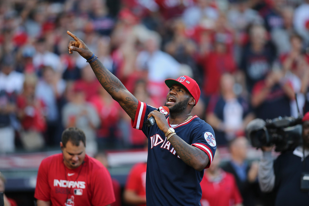 . Cleveland Cavaliers\' Lebron James speaks to fans before Game 2 of baseball\'s American League Division Series between the Cleveland Indians and the Boston Red Sox, Friday, Oct. 7, 2016, in Cleveland. (AP Photo/Aaron Josefczyk)