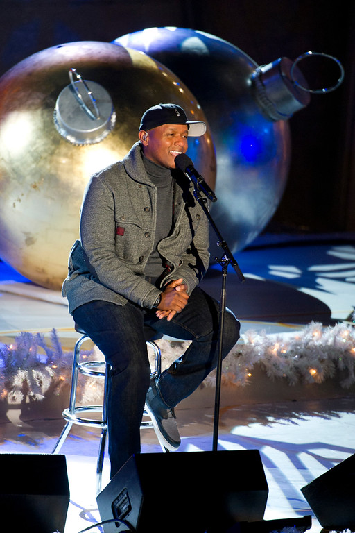 . Javier Colon performs at the Rockefeller Center Christmas tree lighting, in New York, Wednesday, Nov. 30, 2011. (AP Photo/Charles Sykes)
