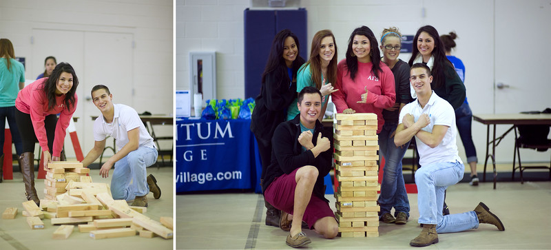 Students during Home coming 2015 Friday Fiesta engage in fun game of Jenga.