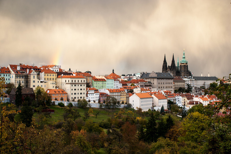 Rainbow and Prague Castle from Petrin Hill