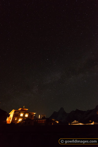 Tengboche monastery and Ama Dablam under the Milky Way