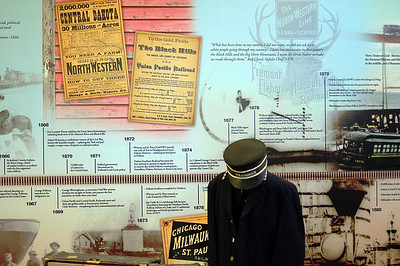 Not to be missed at the State Railroad Museum is the wonderfully assembled TimeRail. This eight by seventy foot  mural graphically displays the rich rail history of South Dakota.  You'll definitely want to click on this photo -- then select a larger size from the menu at that top.  Get a closer look at this sample of what the mural offers!