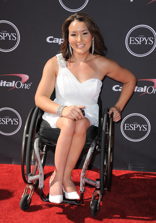 . Wheelchair racer Shirley Reilly arrives at the ESPY Awards on Wednesday, July 17, 2013, at Nokia Theater in Los Angeles. (Photo by Jordan Strauss/Invision/AP)