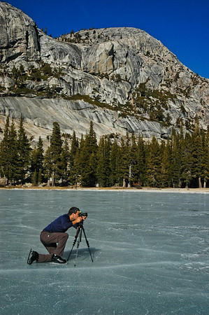 On a frozen lake in Yosemite National Park