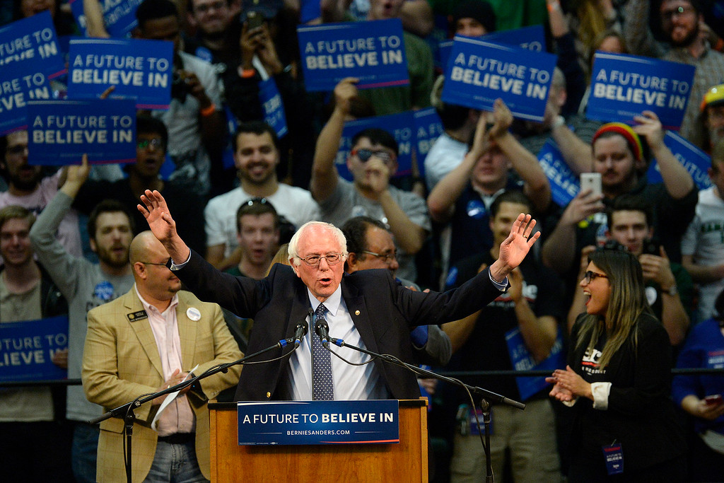 . FORT COLLINS, CO - FEBRUARY 28: Bernie Sanders is introduced during a rally at Colorado State University\'s Moby Arena on Sunday, February 28, 2016. (Photo by AAron Ontiveroz/The Denver Post)