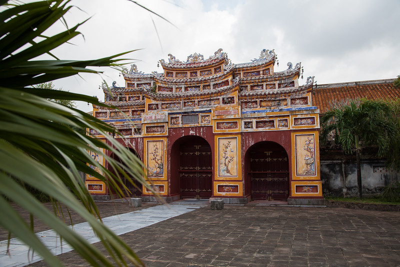 A wide view of the gate with carvings and seashells inside the Citadel.