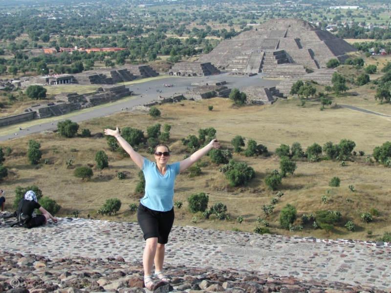 Lina Stock of Divergent Travelers Adventure Travel Blog at Teotihuacan in Mexico