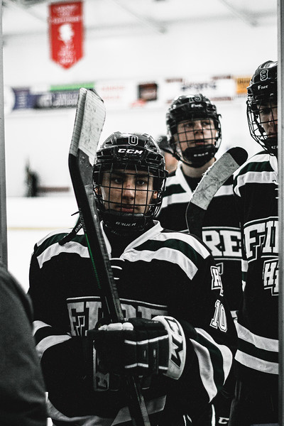 Holy Family Boys Varsity Hockey vs. Elk River, 12/27/19: Charlie Lindberg '21 (10)