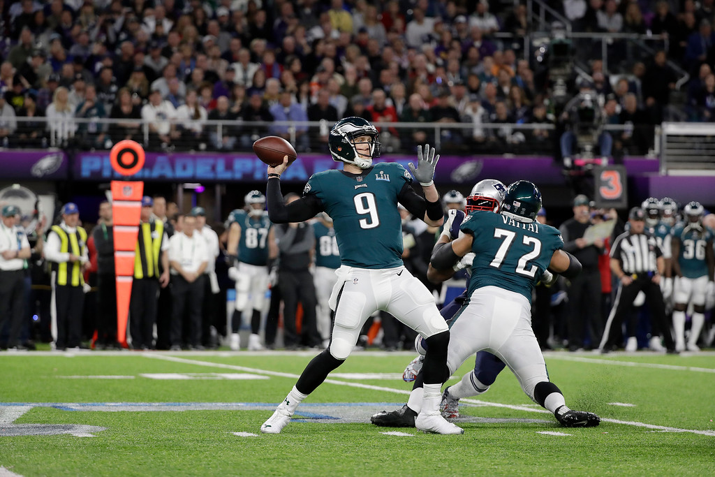 . Philadelphia Eagles\' Nick Foles passes during the first half of the NFL Super Bowl 52 football game against the New England Patriots Sunday, Feb. 4, 2018, in Minneapolis. (AP Photo/Mark Humphrey)