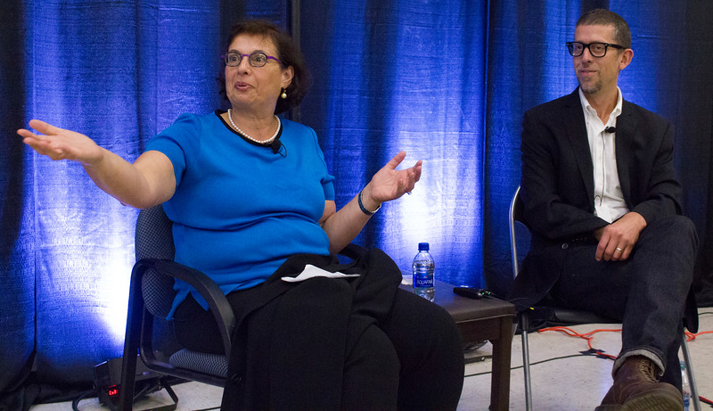 Sonia Nazario and Joaquin Alvarado speak in the Forum.