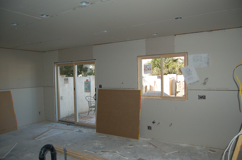 This is the kitchen, all rocked, new door and window, but not cabinets.