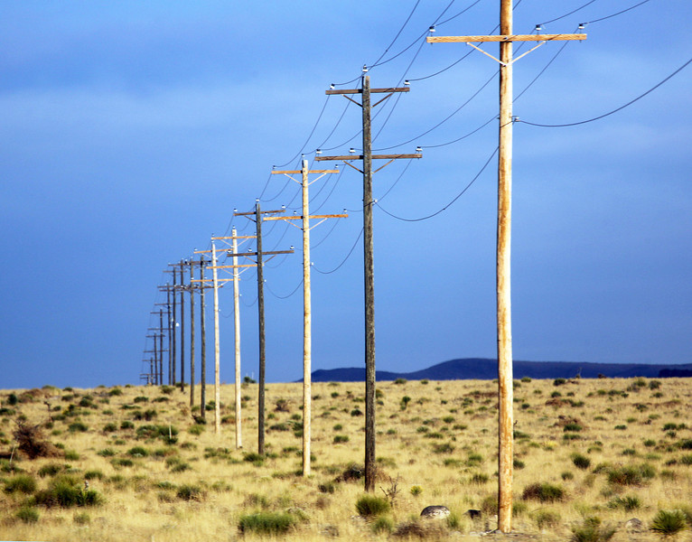 Telephone lines through the Big Empty